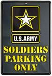 US Army Soldiers Parking Only Tin Sign - Green