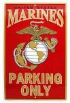 Marine Parking Only Tin Sign