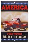 America's Ford Trucks Built Tough Tin Sign