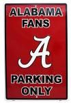 Alabama Fans Parking Only Tin Sign