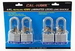 4-pc. Keyalike 40mm Laminated Padlocks (Long Shackle)