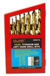 15-pc. Titanium HSS Left Hand Drill Bits