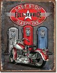 Last Stop Gasoline Tin Sign