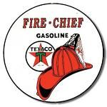 Texaco Fire Chief Round Tin Sign