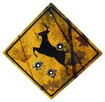 Deer Crossing Tin Sign with Bullet Holes