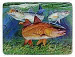 Red Fish Glass Cutting Board