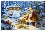 "24"" x 16"" LED Canvas Wall Art - Woodland Santa"