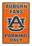 Auburn Tigers Fans Parking Only Tin Sign