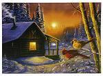 """16"""" x 12"""" LED Canvas Wall Art - Golden Frost Cardinals"""
