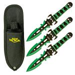 3-pc. Skull Throwing Knives - Green