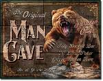 Man Cave Bear Tin Sign