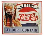 We Serve Pepsi Cola Tin Sign