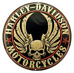Harley Davidson Flying Skulls Round Tin Sign