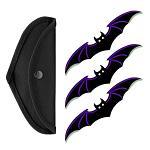 3 - pc. Bat Throwing Knife Set - Purple