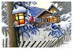 "24"" x 16"" LED Canvas Wall Art - Winter Cabin Birds"