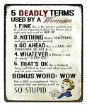 Deadly Woman Terms Tin Sign
