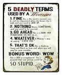 Deadly Woman Terms Tin Sign