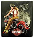Harley Davidson Smokin Hot Babe Tin Sign