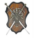 "15"" Dual Sword Letter Opener Set with Plaque"