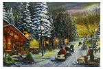 "24"" x 16"" LED Canvas Wall Art - Poker Run Snowmobiles"