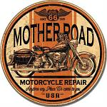 Mother Road Repair Round Tin Sign