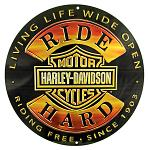 Harley Davidson Ride Hard Round Tin Sign